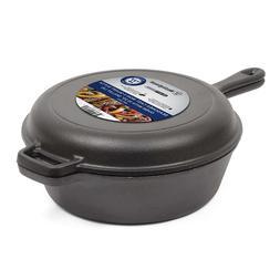 Cast Iron Oven Deep Fryer W/ Skillet Lid 3 Qrt Dutch Pot Pan