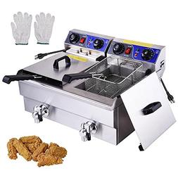 Commercial Electric 20L Deep Fryer w Timer and Drain Stainle