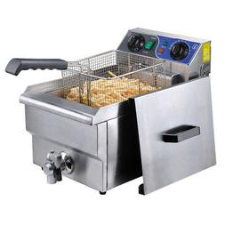 Commercial Electric 10L Deep Fryer w/ Timer and Drain Stainl