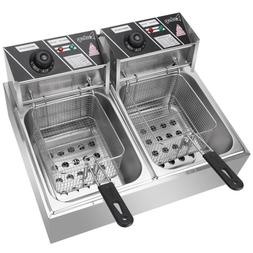 Commercial Electric Stainless Steel Double Pots Deep Fryer T