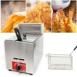 Commercial Gas Deep Fryer Countertop Stainless Fryer Pot 10L