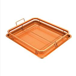 Copper Rectangle Crispy Tray,MontoSun 2 pcs Nonstick Oven Ai