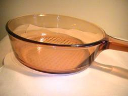 "Corning Amber Vision Visions Amber 10"" Skillet  with Lid"