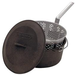 Deep Fryer Cast Iron Pot Basket Lid Cook Steam Boil Oven Out