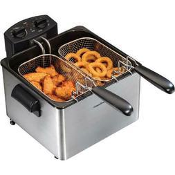 Deep Fryer Detachable Cord Double Baskets Hooks Home Kitchen