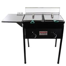 Deep Fryer Double Basket with Stand Cart 10 QT Stainless Ste