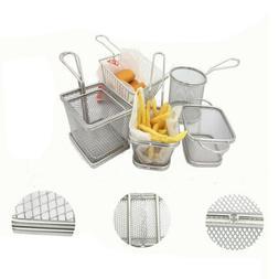 Deep Fryer Mesh Fries Basket,Stainless Steel Foods Serving B