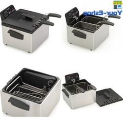 Dual Basket Deep Fryer With Baskets Stainless Steel Electric