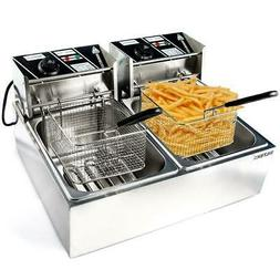 Dual Tank Stainless Steel Electric Deep Fryer Commercial Res