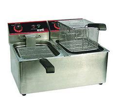 Winco EFT-32 32 lb Electric Countertop Double Well Deep Frye