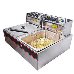 5000w 12 Liter Electric Counter Deep Fryer Dual Tank 6 Comme
