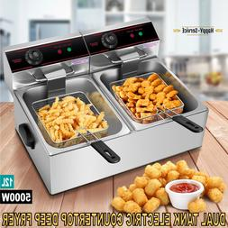 Electric Counter Top Deep Fryer Dual Tank Stainless Steel Wi