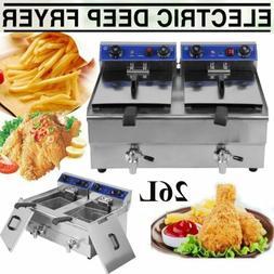 Electric Countertop Deep Fryer 26L Dual Tank Commercial Rest