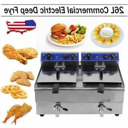Electric Countertop Deep Fryer 3300W Dual Tank 26 Liter Comm