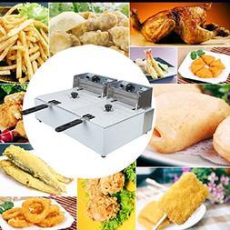 Jinon Electric Countertop Deep Fryer Dual Tanks ,Tabletop Fr