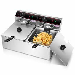 electric countertop deep fryer dual