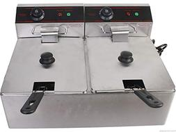 5000W Electric Countertop Deep Fryer Dual Tank Stainless Com