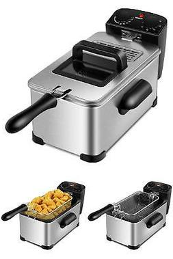 ELECTRIC DEEP FRYER 3.2 Quart 1700W Stainless w/Timer Frying