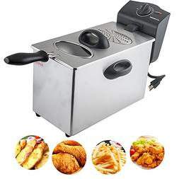 Electric Deep Fryer, 4L Capacity Stainless-Steel Single-Tank