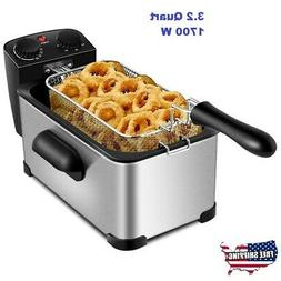 Electric Deep Fryer Basket Timer Large Capacity Thermostat C