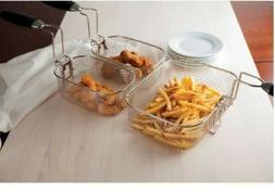 Electric Deep Fryer Cooker Home Fried food Dual Lid 4L S