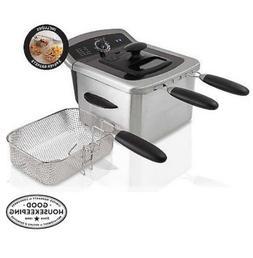 Electric Deep Fryer Cooker Home Countertop Dual Basket Fries