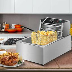 Electric Deep Fryer Stainless Steel Restaurant Home 2500W 6L