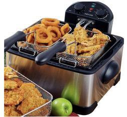Electric Deep Fryer Stainless Steel Triple Basket RV Kitchen