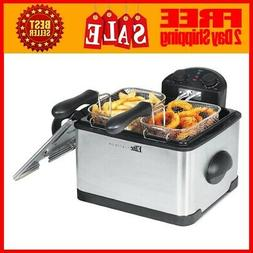 Elite Platinum Edf-401t Dual Deep Fryer With 3 Baskets 4Qt