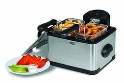 Elite Platinum Edf-401t Dual Deep Fryer With 3 Baskets 4Qt