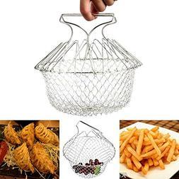 1PCS Foldable Steam Rinse Strain Fry French Chef Basket Magi