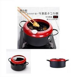 Frying pan with thermometer Tempura Fryer Pot, Mini Deep Fry