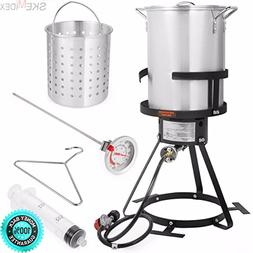 SKEMIDEX---6pc Gas stove Turkey deep Fryer Kit Aluminum Pot