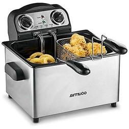 Gourmia GDF475 Electric Deep Fryer - 3 Baskets -Timer and Te