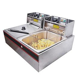 GHP 12-Liter 5000W Dual Tank Stainless Steel Deep Fryer with
