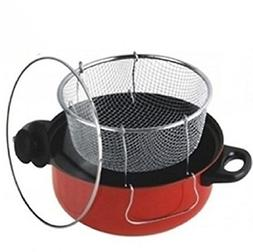 Gourmet Non Stick Deep Fryer with Frying Basket and Glass Co