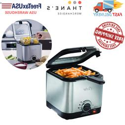 Home Electric Deep Fryer Countertop Compact Stainless Steel