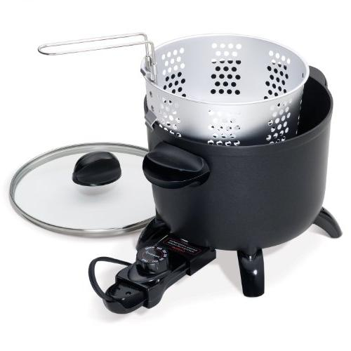 PRESTO Black Kitchen Kettle Multi-Cooker Steamer