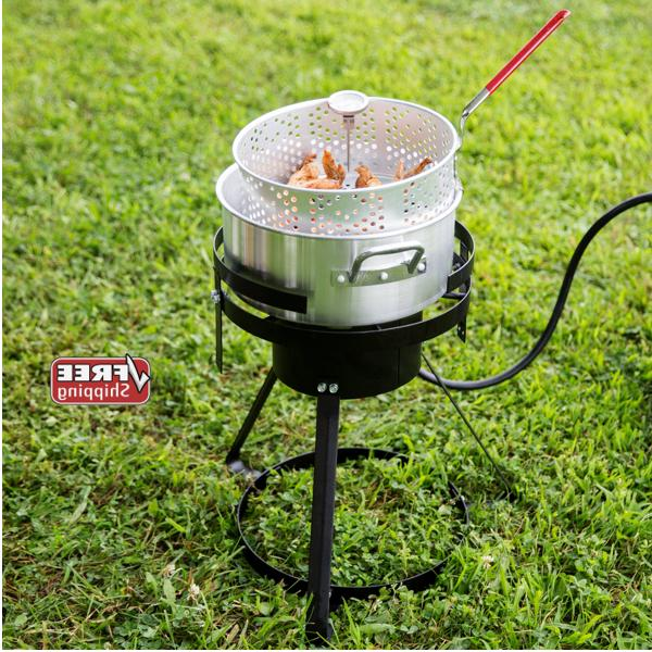 10 Qt Outdoor Aluminum Fish Deep Fryer Cooker Kit Pot Propan