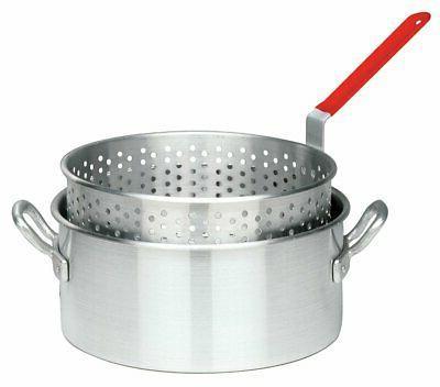 Bayou Classic 10 Quart Aluminum Fry Pot and Basket with Cool
