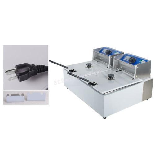 110V Tabletop 11L Dual Tanks Electric Fryer +Basket Scoop