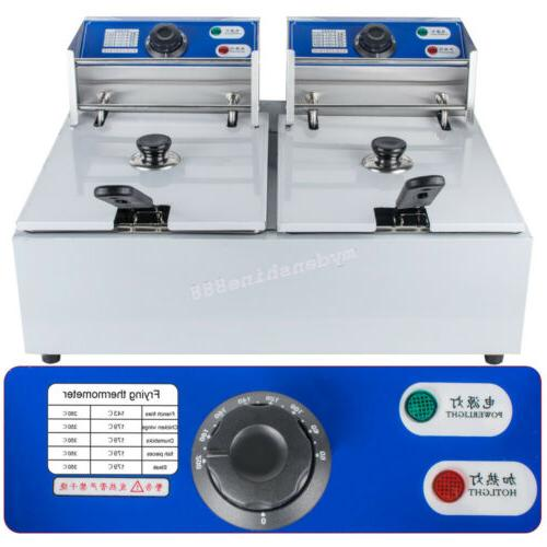 110V Commercial Tabletop 11L Dual Deep Fryer Scoop 5KW