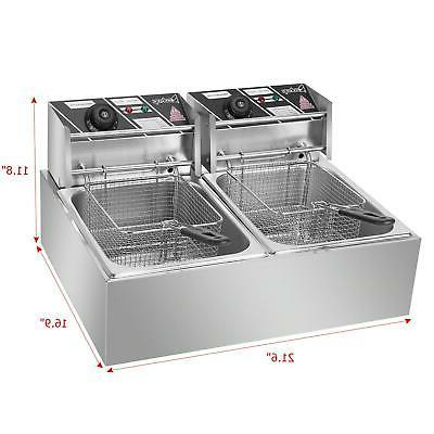 ZOKOP Electric Countertop Deep Fryer 2 Commercial 12L