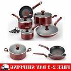 14-Piece Red T-Fal Cookware Set Dutch Oven Saucepan Frypan P