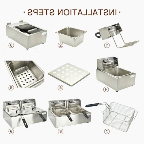 16L Commercial Electric Deep Fryer French Basket Restaurant