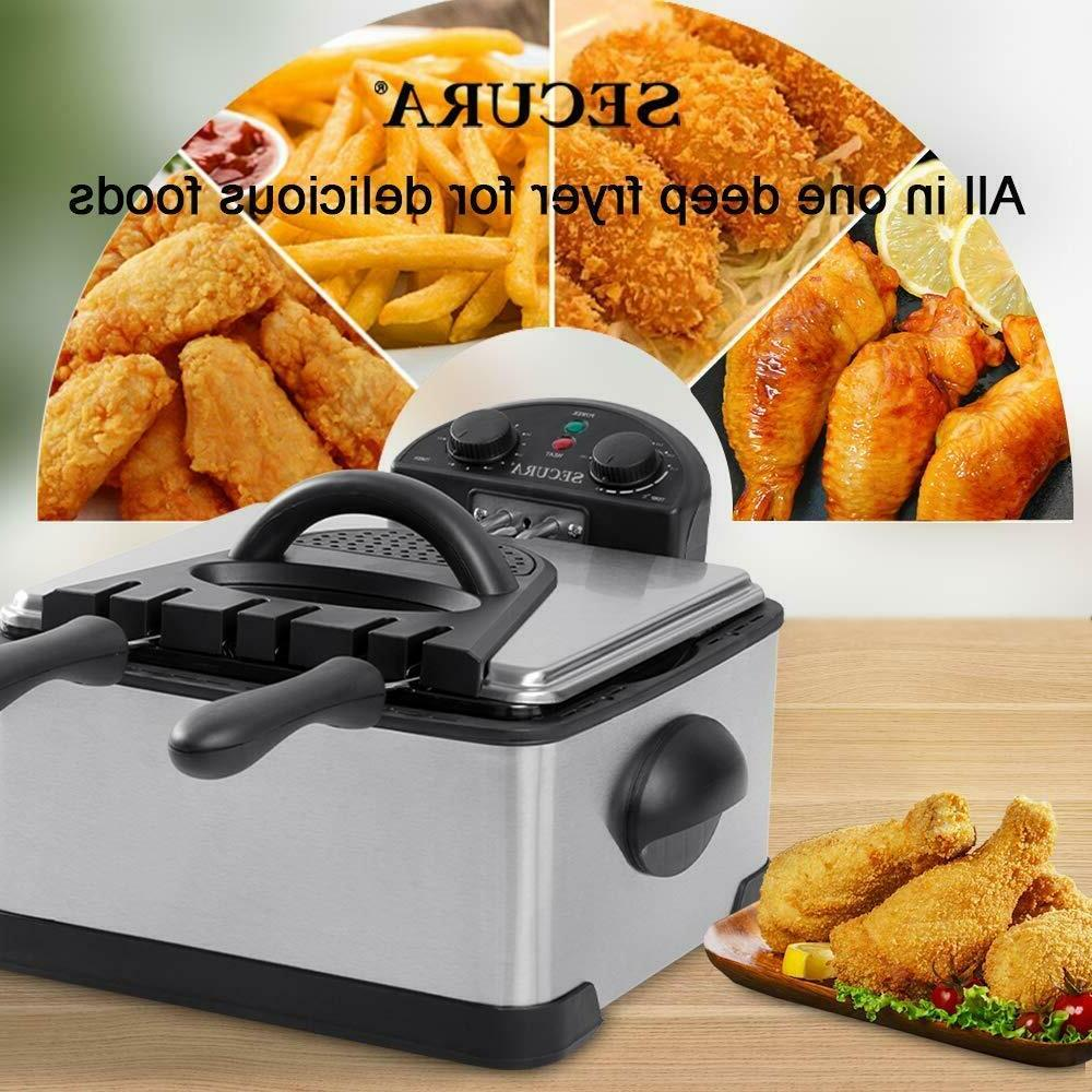 1700-Watt Stainless-Steel Triple Basket Electric Fryer