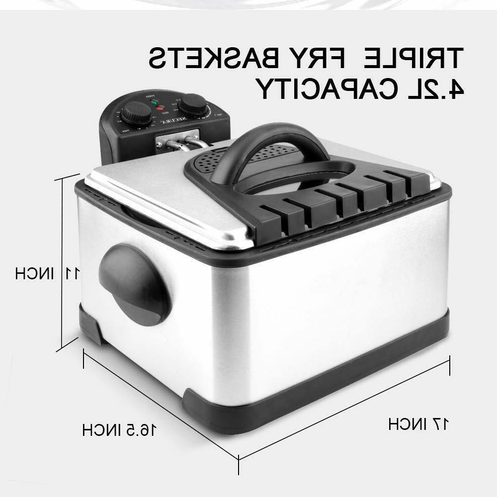 1700-Watt Stainless-Steel Basket Electric Deep Fryer