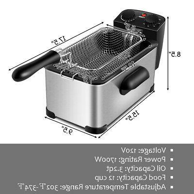 3.2 Quart Deep Fryer 1700W w/Frying Home