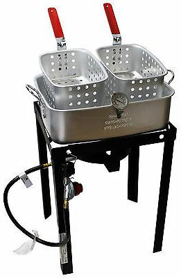 50,000 BTU Qt Propane Basket Fryer! 2 Pot Gas