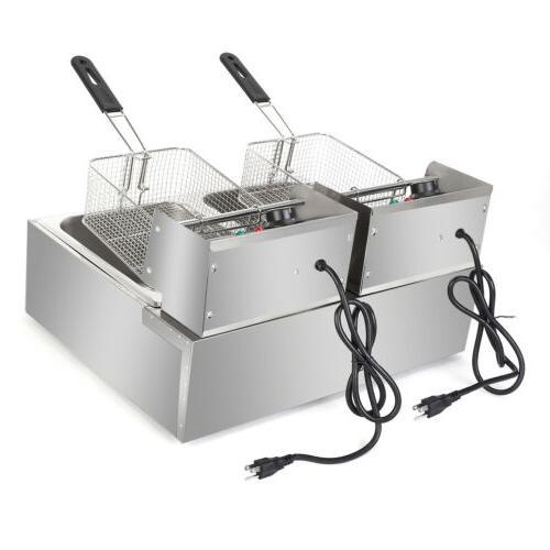 5000W Electric Fryer Dual Tank Restaurant